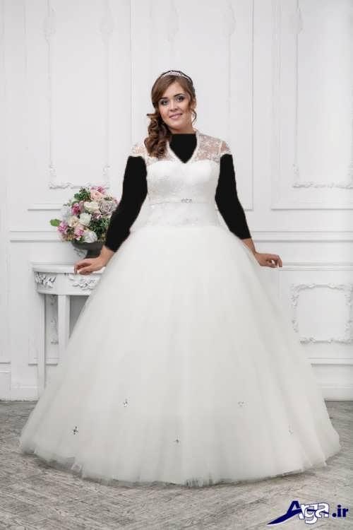 لباس عروسبا دامن پفی برای خانم های چاق