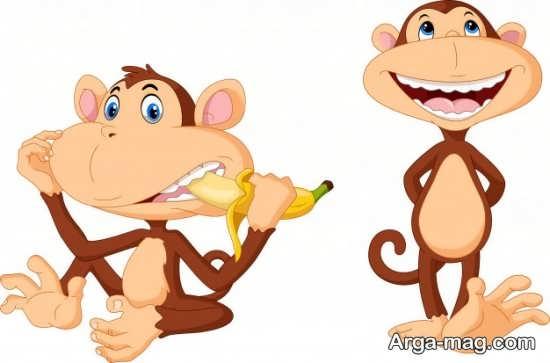 طراحی میمون با رنگ آمیزی کودکانه