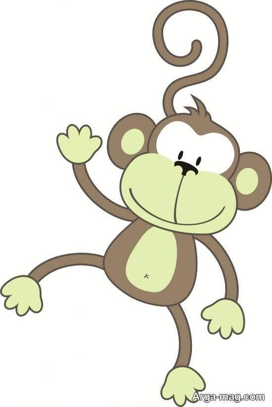رنگ آمیزی کودکانه میمون