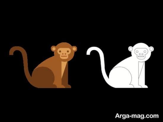 طراحی میمون با رنگ آمیزی جدید