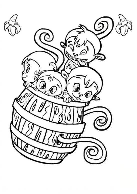 نقاشی میمون برای رنگ آمیزی کردن کودکان