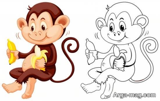 طراحی میمون با رنگ آمیزی جالب