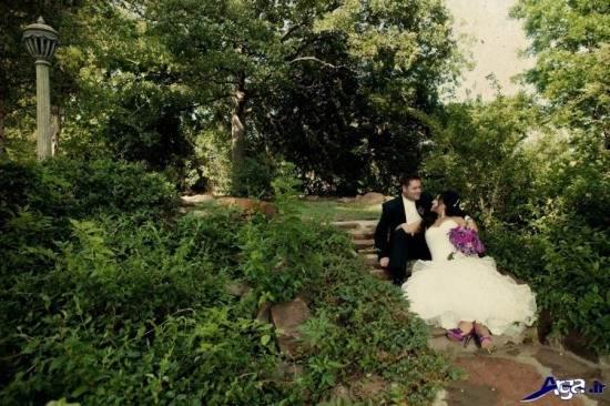 عکس زیبای عروس و داماد در طبیعت