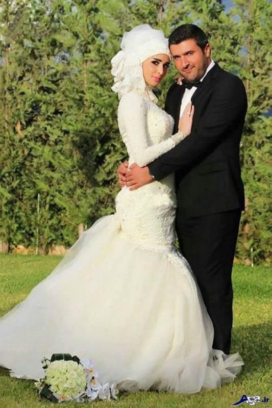 مدل عکس از عروس و داماد در باغ