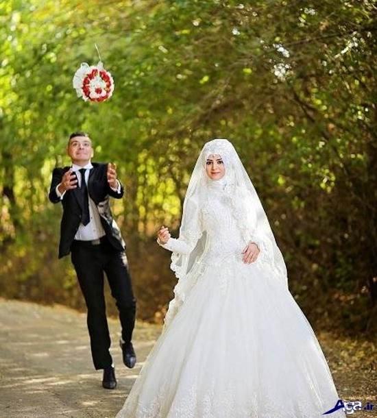 عکس جالب عروس و داماد در باغ