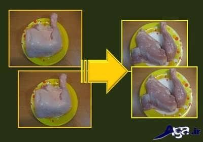 تمیز کردن ران مرغ