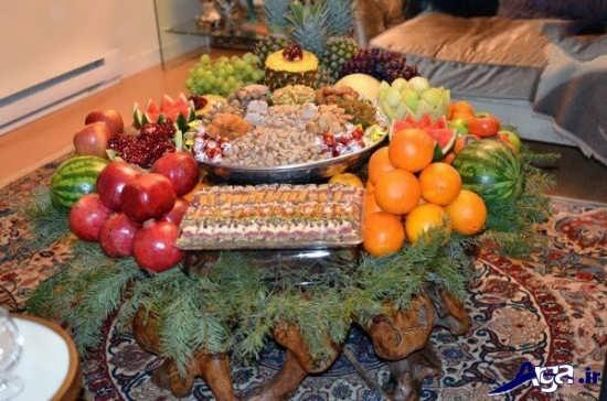 تزیین ساده سفره شب یلدا برای مهمانی