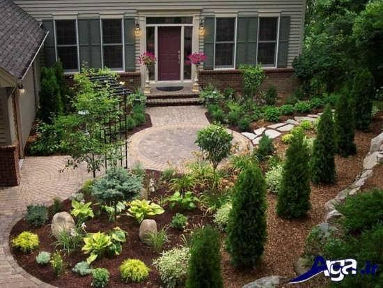 طراحی باغچه حیاط بزرگ