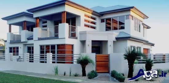 نمای ساختمان دو طبقه با طراحی شیک و مدرن