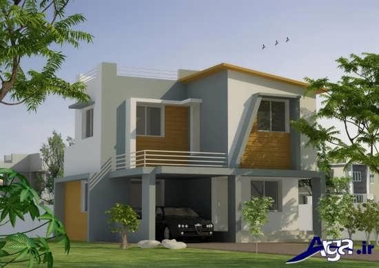 طراحی نمای ساختمان دو طبقه مدرن و جدید