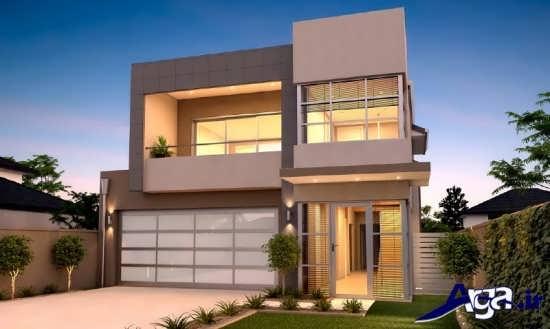 نمای ساختمان دو طبقه با طراحی مدرن و کلاسیک