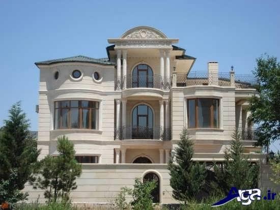 نمای کلاسیک ساختمان دو طبقه با طراحی شیک