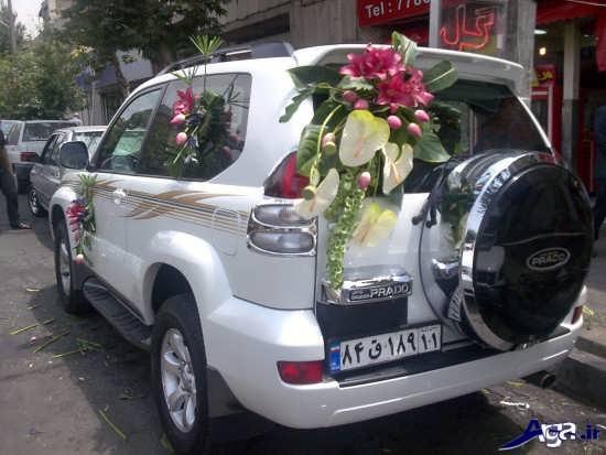 تزیین ماشین عروس با گل های زیبا