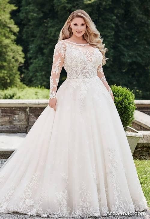 لباس عروس دنباله دار برای افراد چاق
