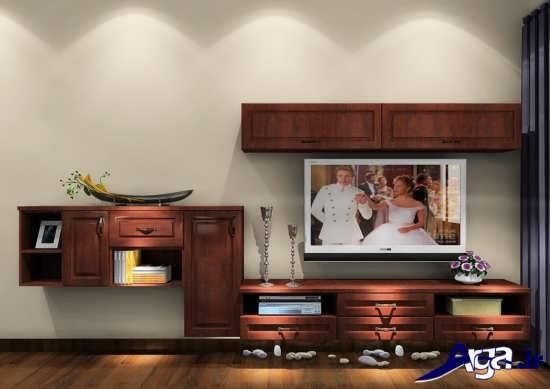 مدل میز تلویزیون چوبی دیواری