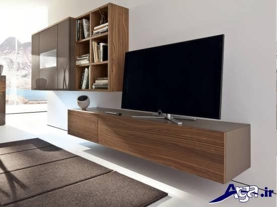 میز تلویزیون چوبی دیواری