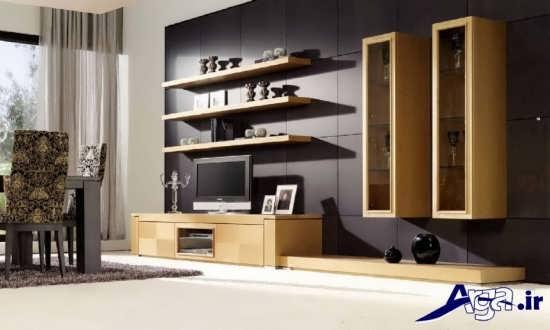 میز تلویزیون چوبی با طرح های دیواری