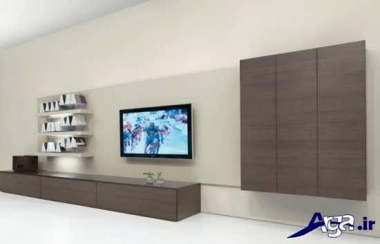 میز تلویزیون دیواری با طرح های چوبی