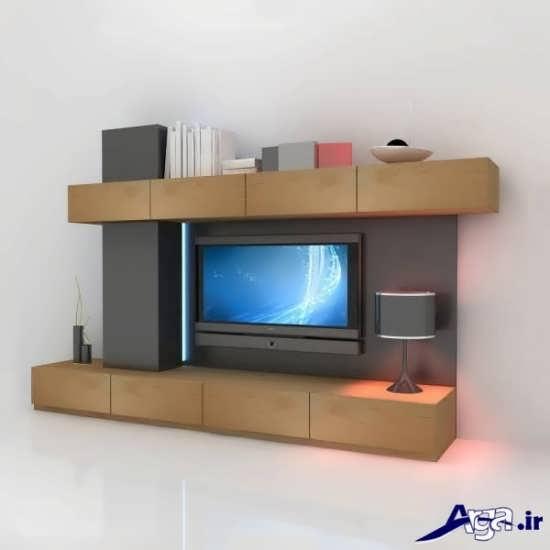 میز تلویزیون دیواری چوبی