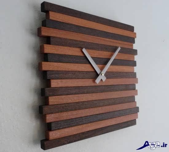 ساعت دیواری زیبای چوبی