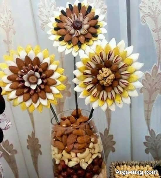 تزیین متفاوت خشکبار شب یلدا به شکل گل