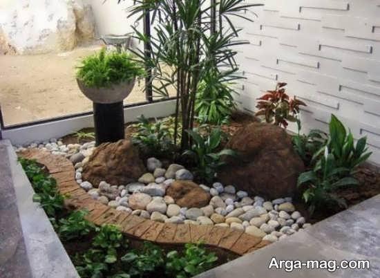 دیزاین باغچه حیاط با طرح قشنگ