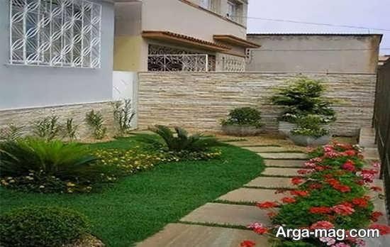 دیزاین باغچه حیاط با طرح دلخواه