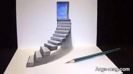 نقاشی سه بعدی با طرح پلکان