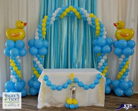 تزیین بادکنک های تولد با تم آبی و زرد