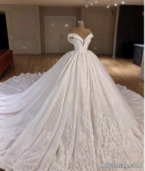 لباس عروس یقه قایقی بدون آستین