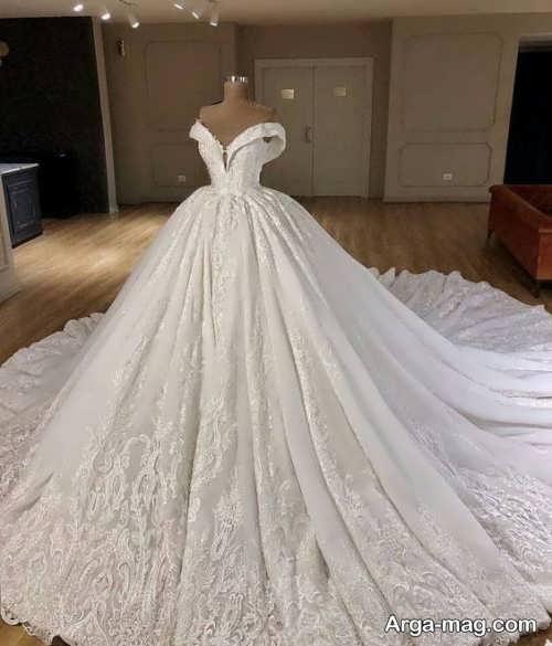 لباس عروس شیک یقه قایقی