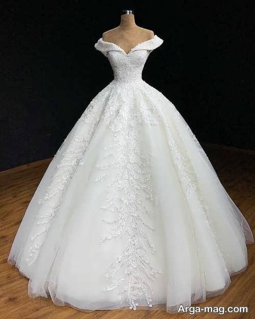پیراهن عروس شیک یقه قایقی