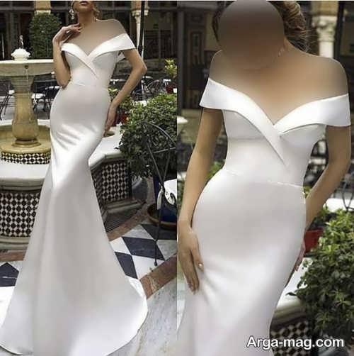 لباس عروس یقه قایقی جدید