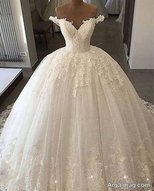 لباس عروس پفی یقه قایقی
