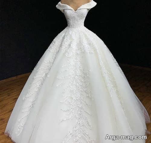 جدیدترین مدل لباس عروس یقه قایقی