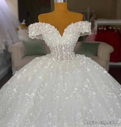 پیراهن عروس یقه قایقی بدون آستین
