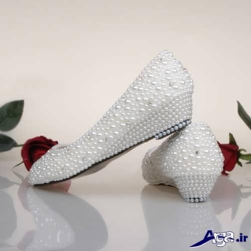 مدل کفش عروس پاشنه کوتاه و کار شده
