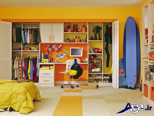 کمد دیواری اتاق بچه با طرح شیک و کاربردی