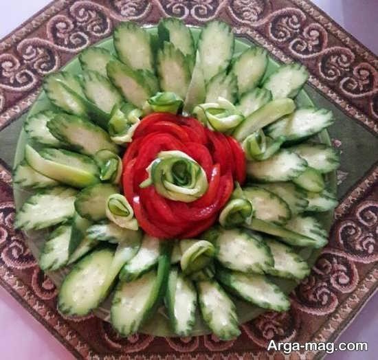 میوه آرایی خیار برای سالاد