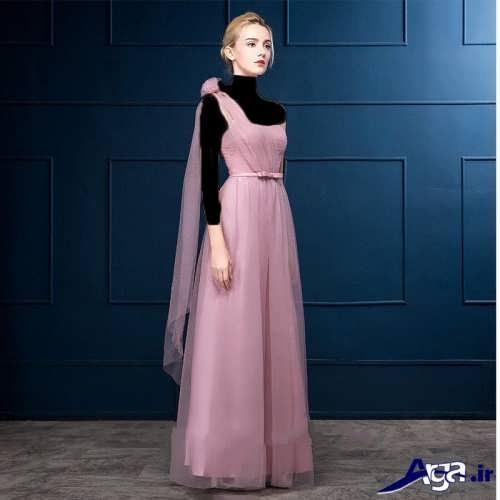 لباس مجلسی کار شده با تور برای خواهر عروس و داماد