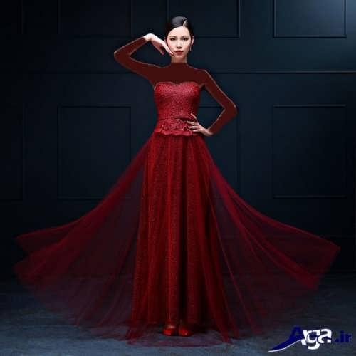 لباس مجلسی کار شده با تور برای خواهر عروس