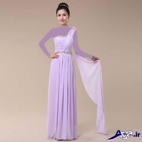 لباس مجلسی بنفش برای خواهر عروس و داماد
