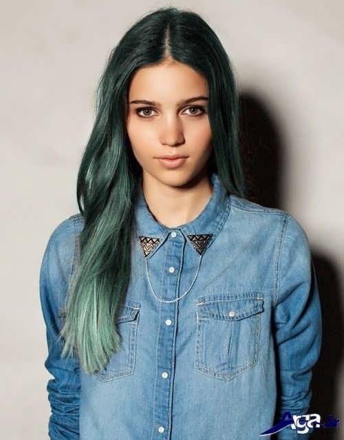 رنگ موی زیبا و دخترانه سبز زمردی