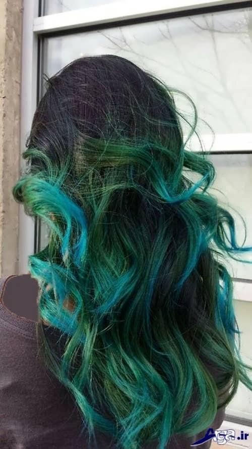 هایلایت سبز آبی روی موی مشکی