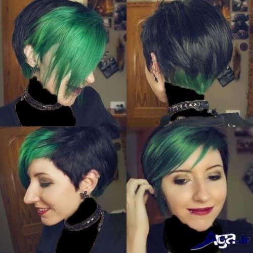 هایلابت سبز روی موی مشکی