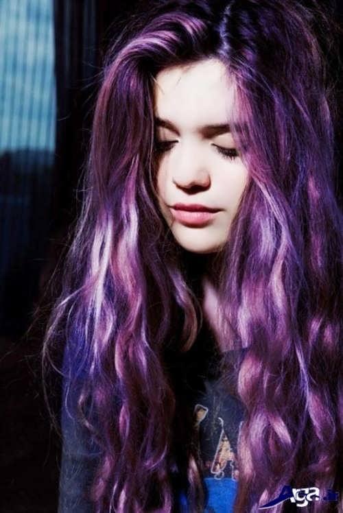 رنگ مو زیبا و متفاوت ارغوانی