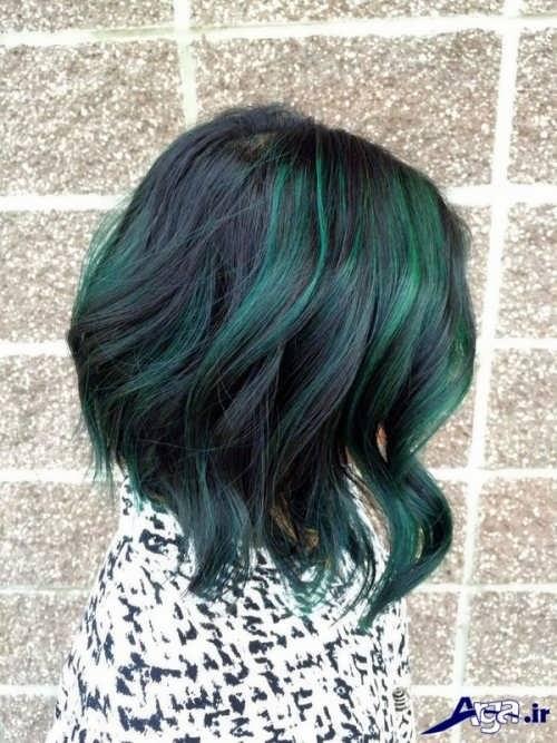 مدل هایلایت سبز روی موی مشکی