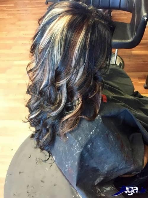 مدل هایلایت زیبا و شیک روی موی مشکی