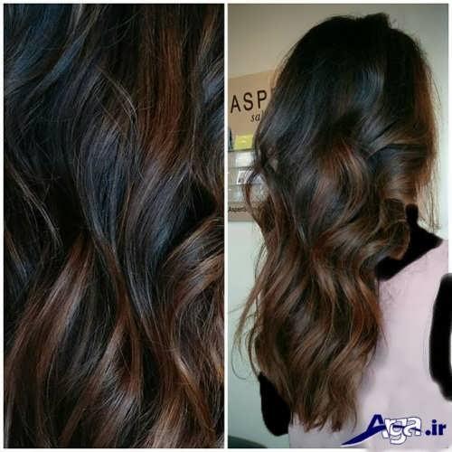 مدل هایلایت قهوه ای و زیبا روی موی مشکی