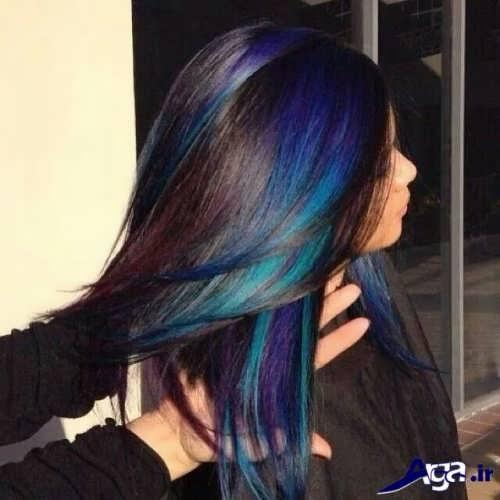 مدل هایلایت بنفش و آبی روی موهای مشکی